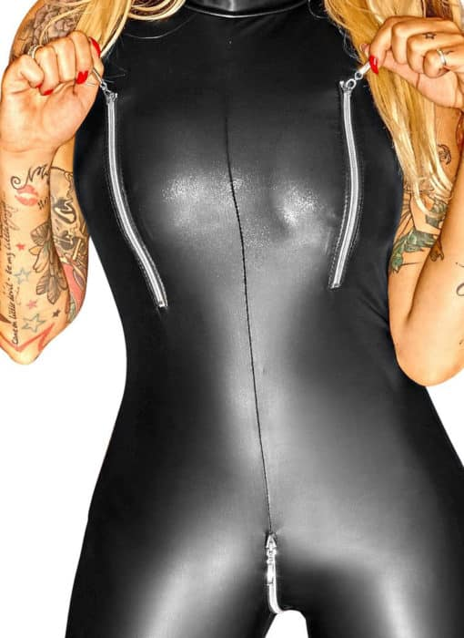 Zippered Faux Leather Catsuit 3