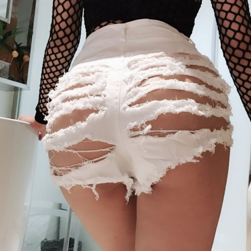 Sexy Ripped Hole Booty Shorts Women High Waist Fringe Jean Shorts Summer Girl Cute Shorts Nightclub Party Hotpants 1