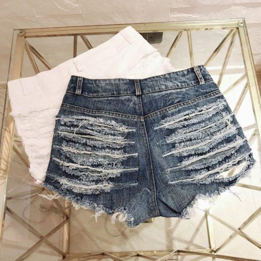 Sexy Ripped Hole Booty Shorts Women High Waist Fringe Jean Shorts Summer Girl Cute Shorts Nightclub Party Hotpants 3