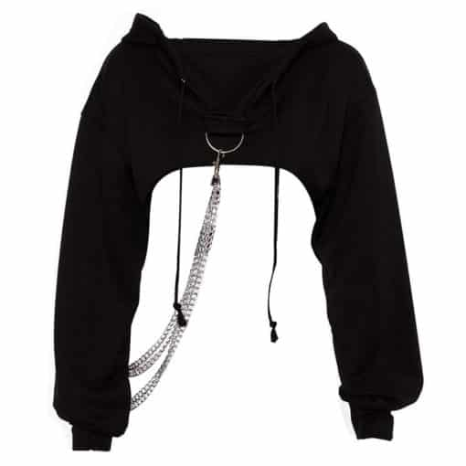 Chained Crop Hoodie 3