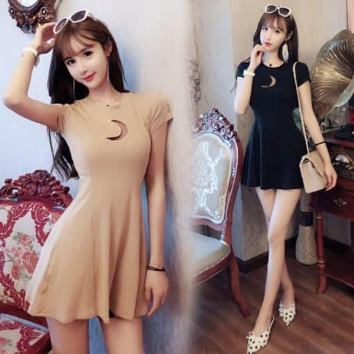 Summer Women's Dress Chest Moon Hollow Out Design Round Neck Short-sleeved Sexy Slim Mini Gothic Dress 1