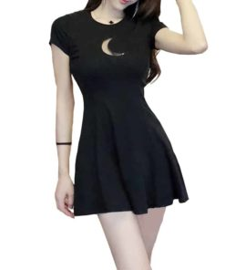 Summer Women's Dress Chest Moon Hollow Out Design Round Neck Short-sleeved Sexy Slim Mini Gothic Dress