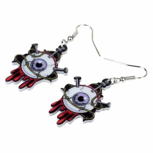 Bonsny Acrylic Halloween Horrible Eyeball Earrings Drop Dangle Big Long Fashion Punk Jewelry For Women Girls Party Charms Bulk 2