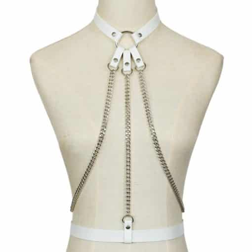 Leather Body Harness w Chain 3