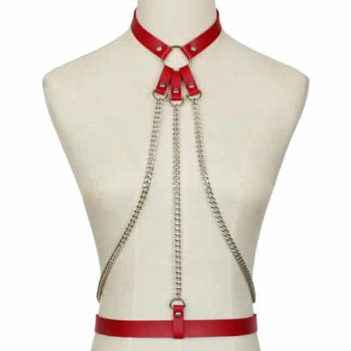 Leather Body Harness w Chain 4