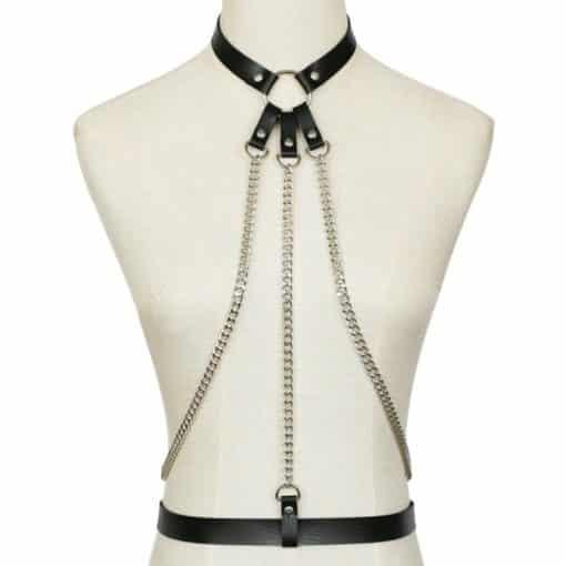 Leather Body Harness w Chain 2