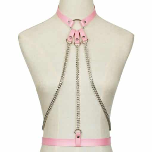 Leather Body Harness w Chain 5