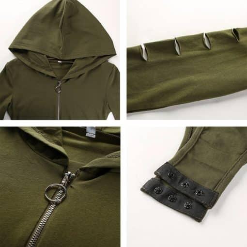Zipper Hollow Out Sleeved Bodysuit 4