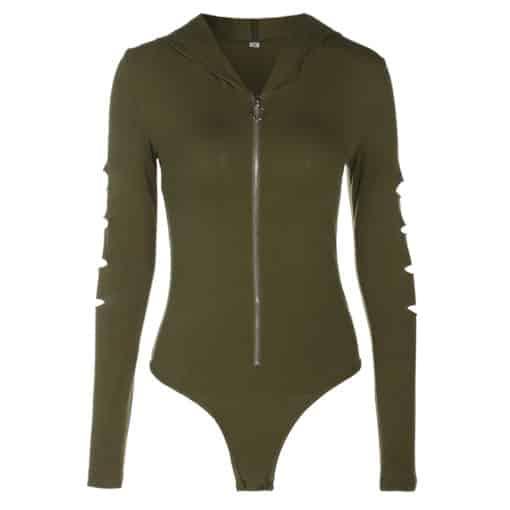 Zipper Hollow Out Sleeved Bodysuit 3