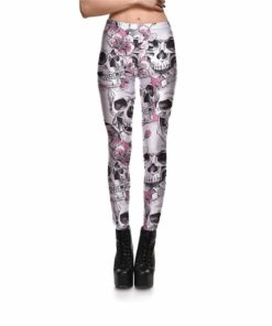 Leggings New Arrival Women's Skull&Peach blossom Leggings Digital Print Pants Trousers Stretch Pants Wholesales
