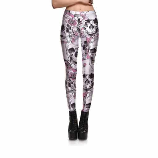Leggings New Arrival Women's Skull&Peach blossom Leggings Digital Print Pants Trousers Stretch Pants Wholesales