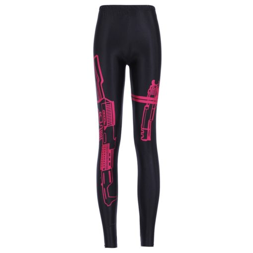 Leggings Fashion New Womens Red Gun Machinery War Style 3D Print Sexy Slim Fitness Leggings Pants Plus Size