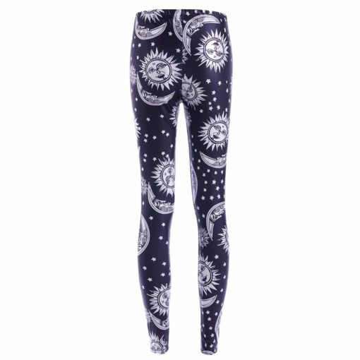 wholesale leggings black and white sun moon prints suitable for European women's leggings pants hot stretch pants 1