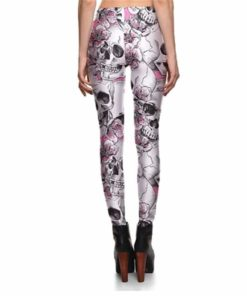 Leggings New Arrival Women's Skull&Peach blossom Leggings Digital Print Pants Trousers Stretch Pants Wholesales 1