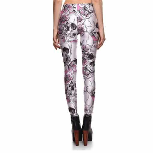 Leggings New Arrival Women's Skull&Peach blossom Leggings Digital Print Pants Trousers Stretch Pants Wholesales 1