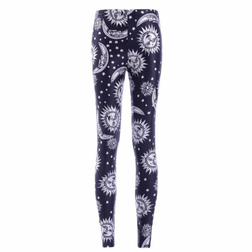 wholesale leggings black and white sun moon prints suitable for European women's leggings pants hot stretch pants