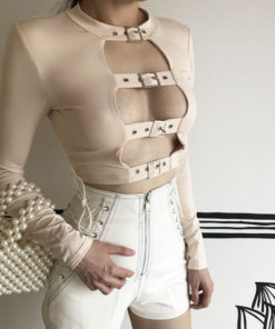 Open Chest Buckle Crop 1