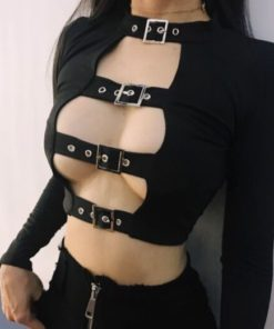 Open Chest Buckle Crop
