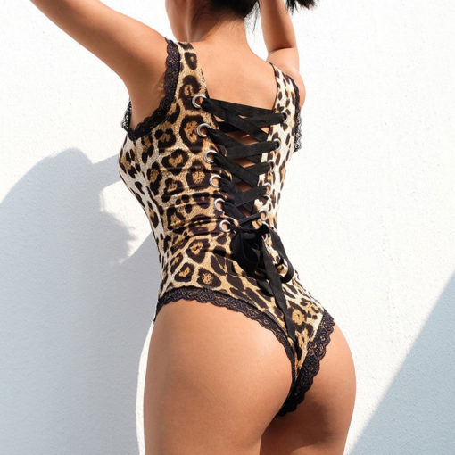 Sexy Womens Lace Backless Bandage  Lace up Leopard Print Bodysuit Skinny Stretch Leotard Ladies Tops 2