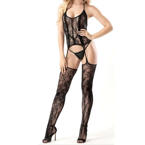 Open Crotch Fishnet Halter Body Suit