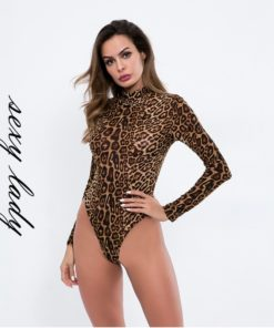 Lepard Sleeved Bodysuit 1