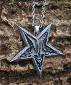 EYHIMD Unique Gothic Pentagram Baphomet Satan Skull Pendant Necklace Punk Satanism Jewelry