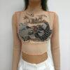 Harajuku Mesh Crop Top Long Sleeve T Shirt Women Kawaii Dragon Graphic Tees Sexy See Through Turtleneck Summer Tshirt 1