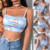 2019 New Fashion Women camisole Sling Top Vest Sleeveless Cold Shoulder The Angel Of Cupid Print Short Camis Female Summer Top 4