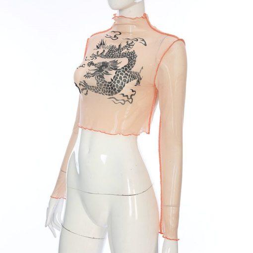 Harajuku Mesh Crop Top Long Sleeve T Shirt Women Kawaii Dragon Graphic Tees Sexy See Through Turtleneck Summer Tshirt 2