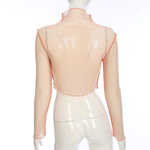 Harajuku Mesh Crop Top Long Sleeve T Shirt Women Kawaii Dragon Graphic Tees Sexy See Through Turtleneck Summer Tshirt 4