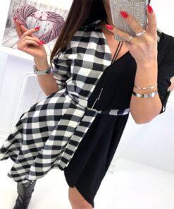 Black & Plaid Short Dress 2