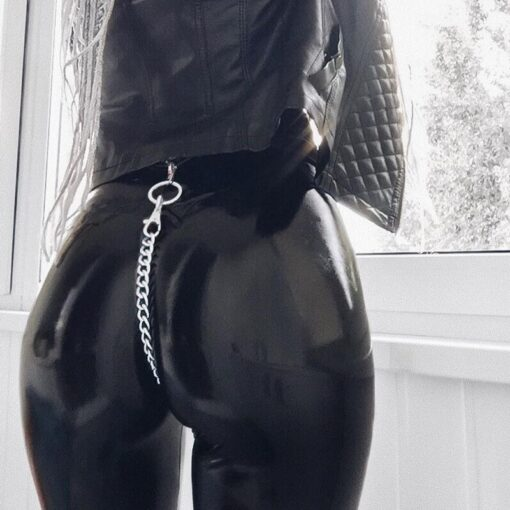 Faux Leather Wet Look - With Chain 4