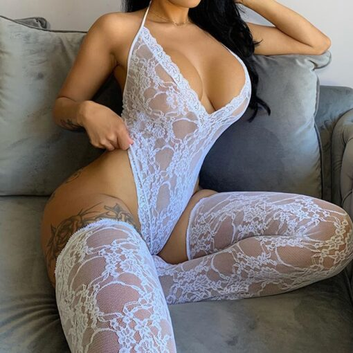 OMSJ Women's Sexy Lace Bodysuit Sleeveless See-through Backless Deep V-neck Skinny Halter Jumpsuit With Socks Female New Style 1