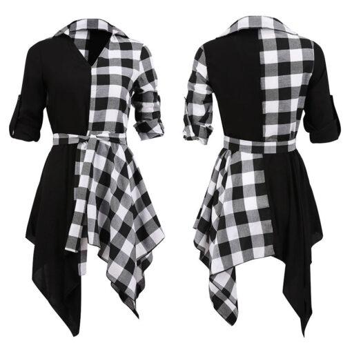 Black & Plaid Short Dress 3