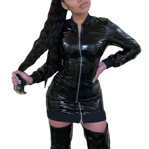 PU Leather Bodycon Zip Up 1