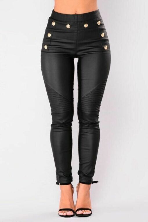 PU Studded High Waist Leather Leggings 3