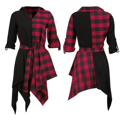 Black & Plaid Short Dress 4