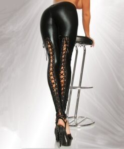 Faux Leather Tie Up Leggings 1