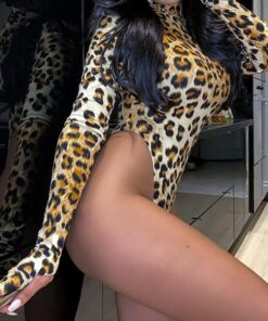Leopard Print Skinny Bodysuit For Women 2021 Spring Autumn Hot Sexy Trendy Long Sleeve High Neck Female Rompers Overalls 1 Piece 2