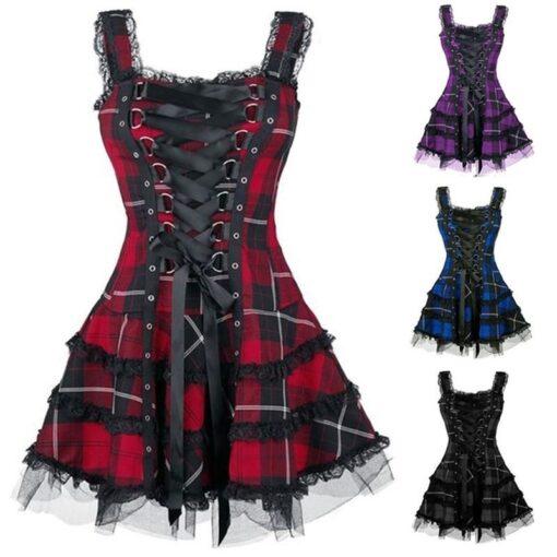 Vintage Plaid Goth Dress 6
