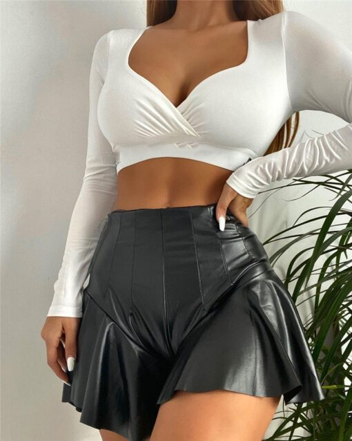 PU Leather Mini Skirt 2